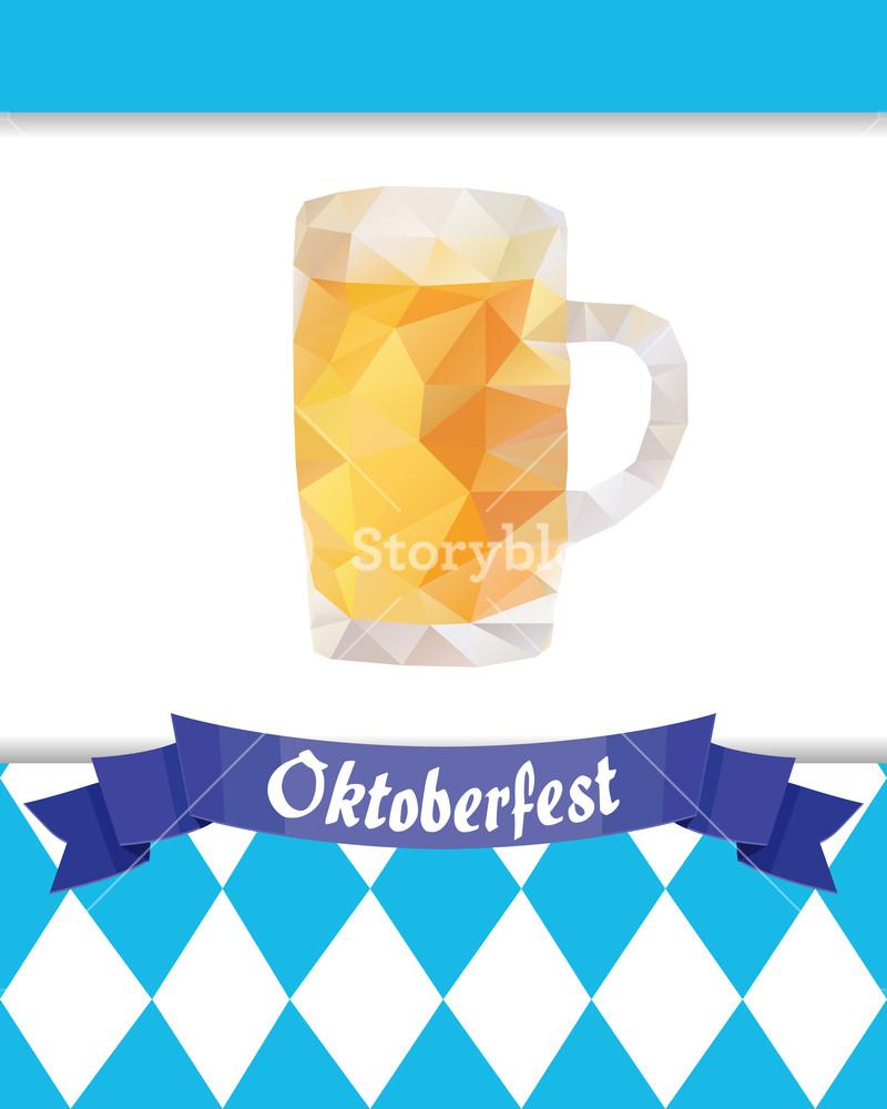 800x1000 Oktoberfest Vector Illustration With Beer Mug, Blue Rhombus