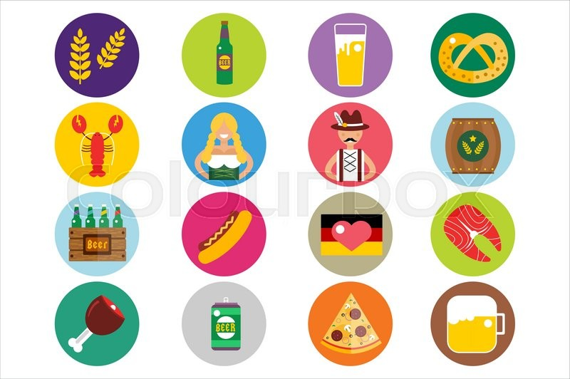 800x532 Set Of Flat Oktoberfest Vector Icons. Bottle Beer, Food And Drinks