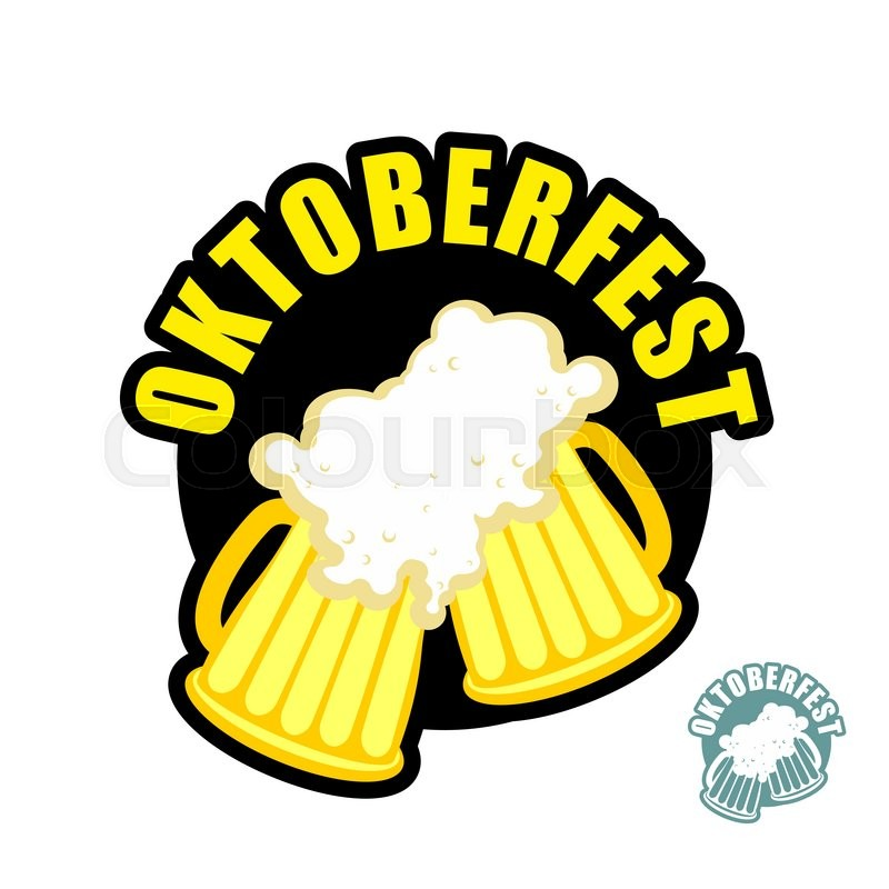 800x800 Two Beer Mugs Clink. Symbol Of Oktoberfest. Vector Logo Holiday In