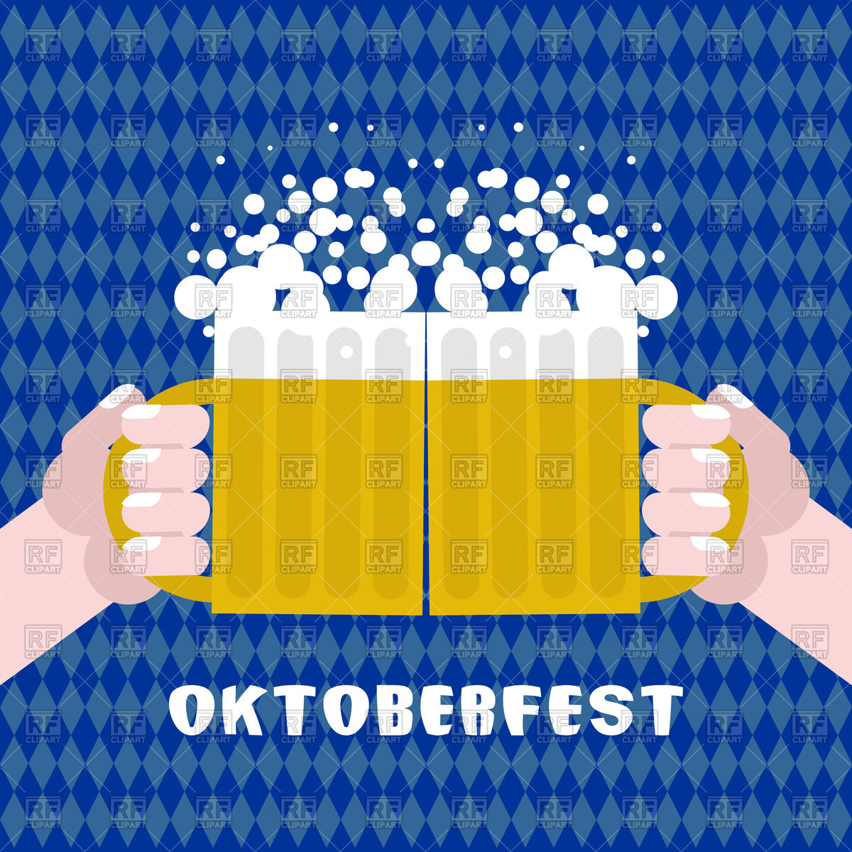 1200x1200 Two Men Holding Cups With Beer. Poster For Oktoberfest. Vector