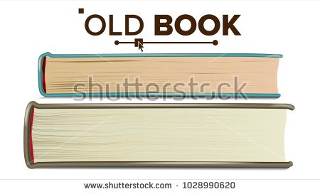 450x273 Old Book Vector. Paper Book In Cover. Isolated Realistic