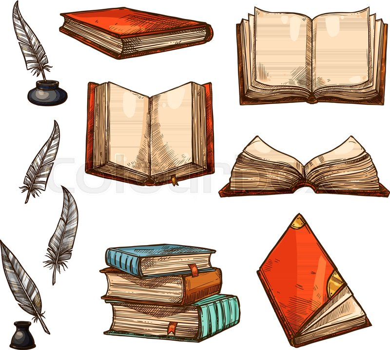 800x718 Old Books And Ancient Manuscripts Sketch Icons. Vector Set Of