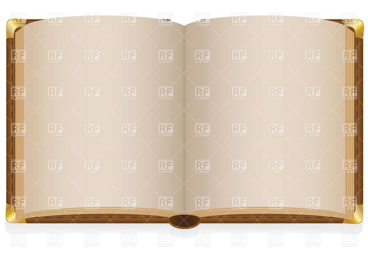 1200x840 Old Hardback Open Book With Blank Sheets And Metal Corners Vector