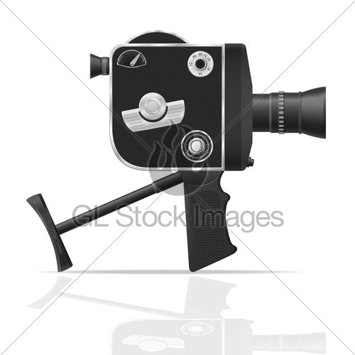 500x500 Old Retro Vintage Movie Video Camera Vector Illustration Gl