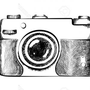 300x300 Photostock Vector Drawn Retro Camera Drawing Of Black And White