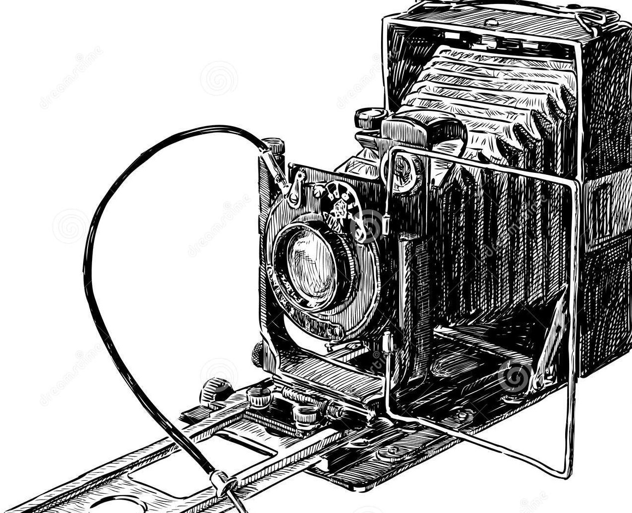 1277x1036 Old Camera Vector Drawing Vintage Century 32936693