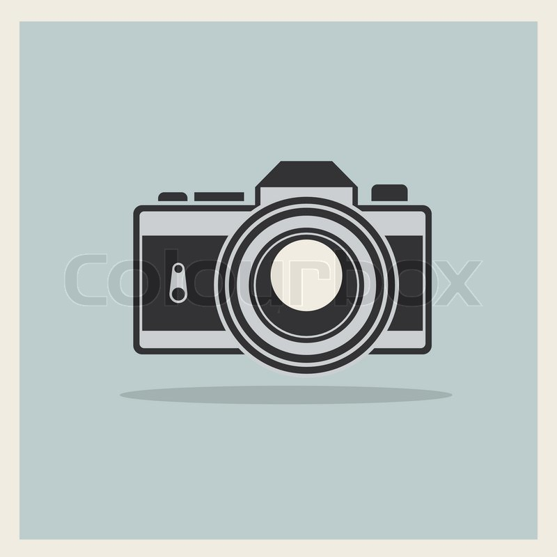 800x800 Dslr Professional Camera Icon On Retro Vintage Background Vector