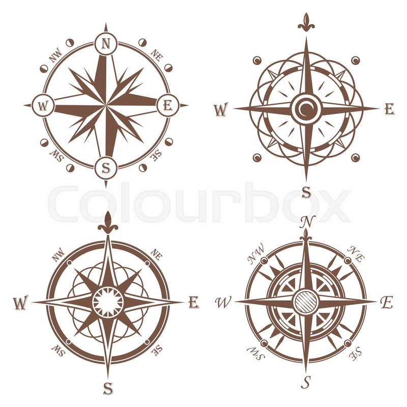 800x800 Isolated Vintage Or Old Compass Rose Icons. Sea Or Ocean