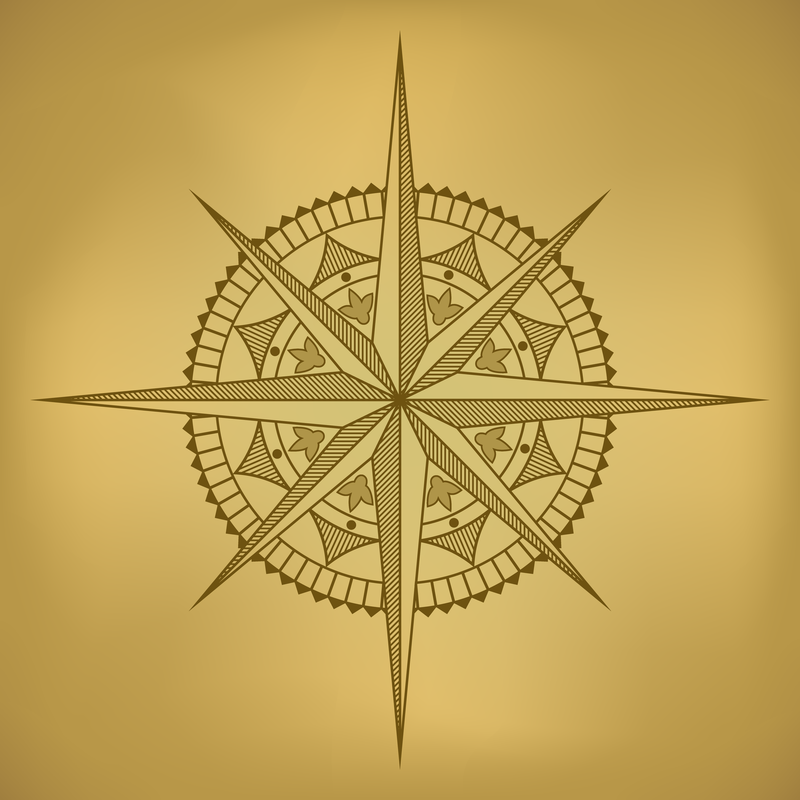 800x800 Old Map And Compass Vector 2
