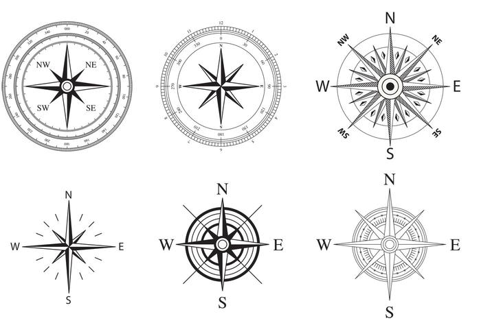 700x490 Wind And Nautical Compass Rose Vectors
