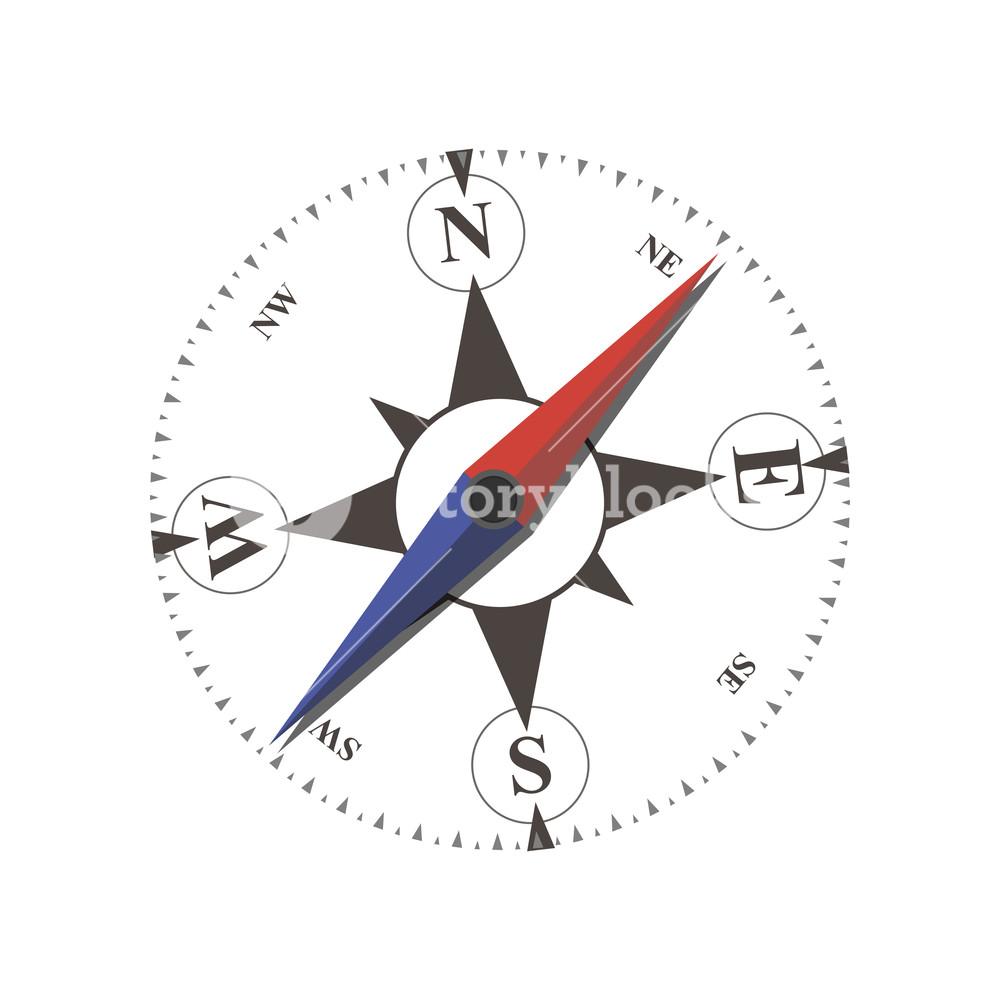 1000x1000 Compass Vector Flat Arrow Old Illustration Sea Navigation Travel