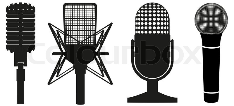 800x364 Icon Set Of Microphones Black Silhouette Vector Illustration