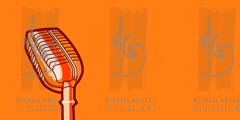 800x400 Old Fashioned Microphone Vector Stock Illustration