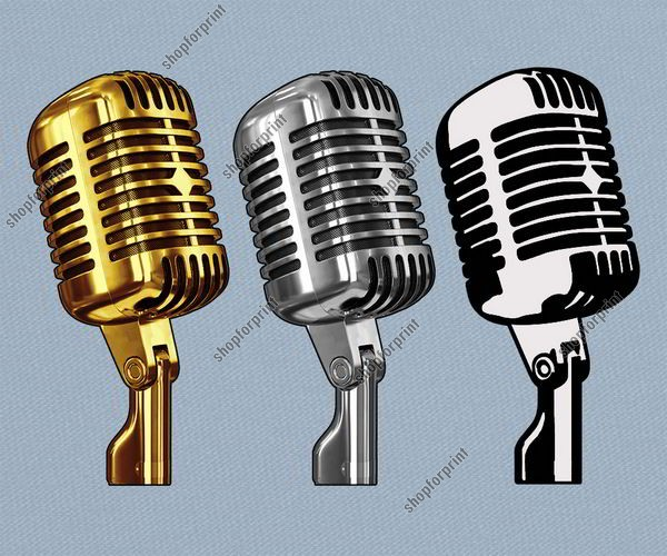600x500 Old Microphone Vector In Formats Ai, Eps, Svg