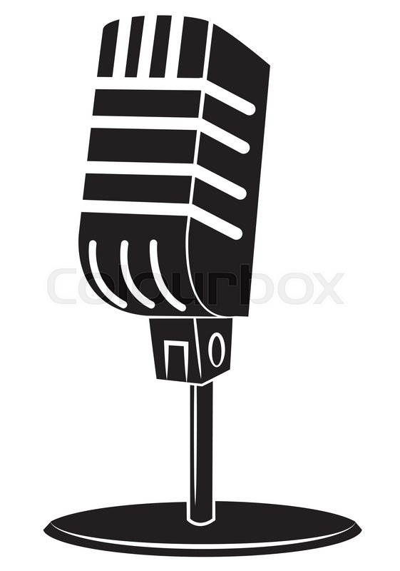 561x800 Black Silhouette Old Microphone Stock Vector Colourbox