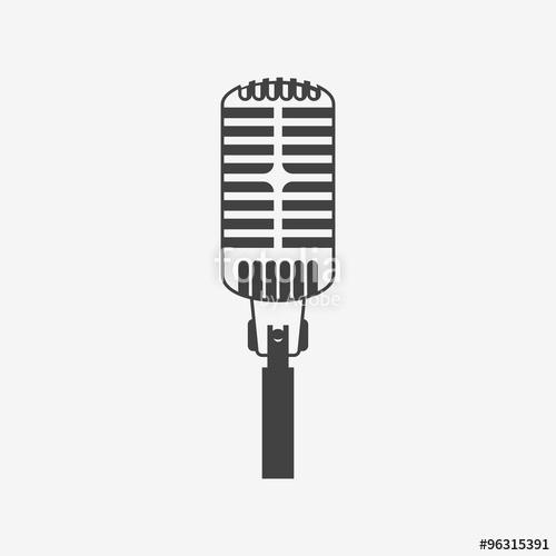 500x500 Retro Microphone Vector Icon. Monochrome Illustration. Stock