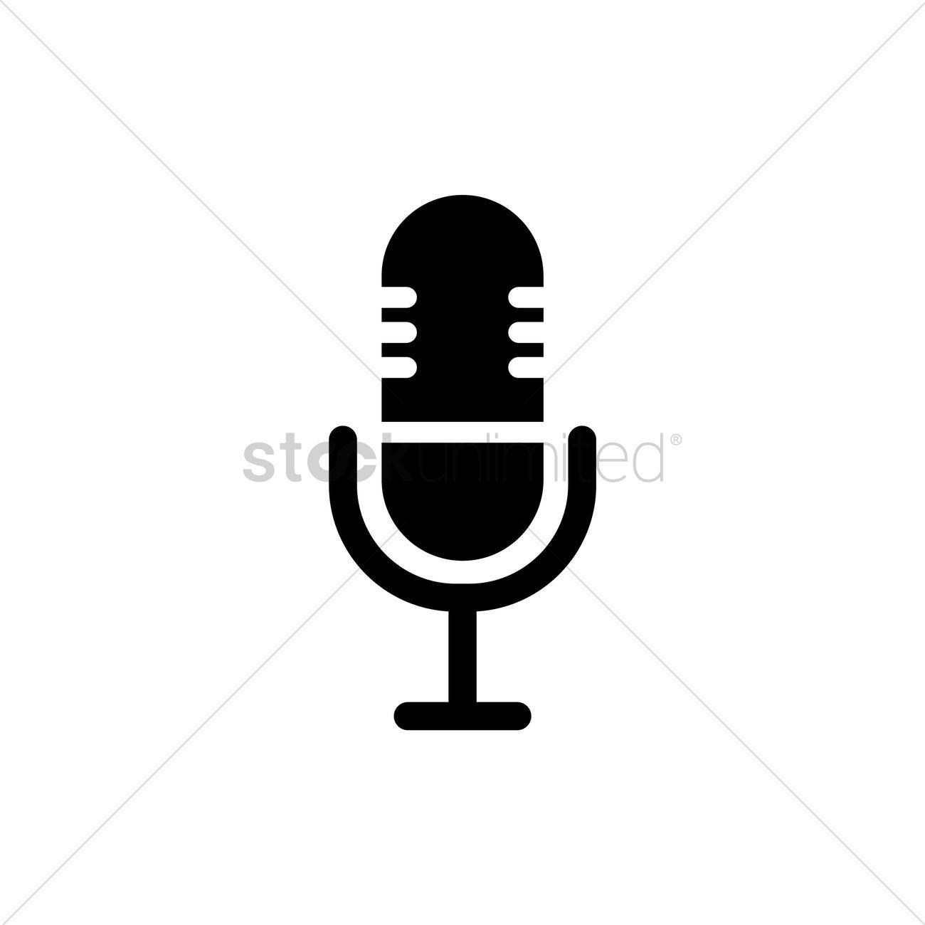 1300x1300 Vintage Microphone Icon Vector Image