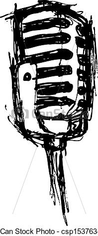 197x470 Vintage Microphone In Doodle Style.