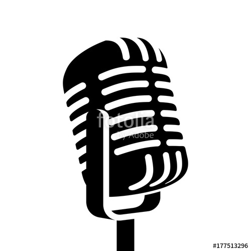500x500 Vintage Microphone Sign Vector Illustration Stock Image And