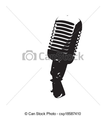 429x470 Vintage Microphone Vector Illustration. Vectore Illustration Of