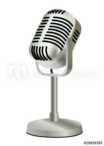 354x500 Metal Plastic Old Vintage Microphone Vector