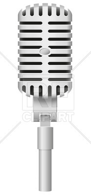 186x400 Classical Metal Retro Styled Old Microphone Vector Image Vector