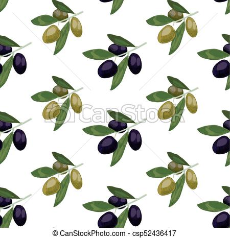 450x466 Seamless Pattern With Colored Olives. Hand Drawn Olive Branch