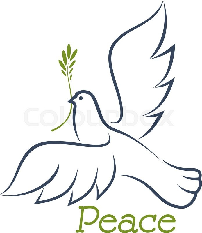 695x800 White Dove Of Peace Flying With Green Olive Branch In Beak