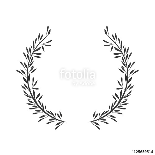 500x500 Gray Scale Crown Formed With Two Olive Branch Vector Illustration