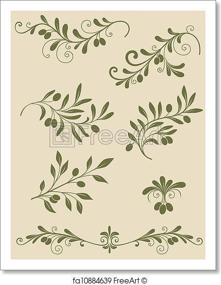 450x580 Free Art Print Of Decorative Olive Branch. Vector Vintage