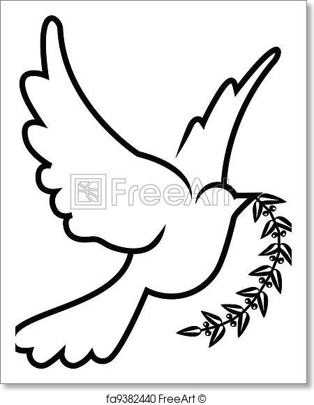 450x580 Free Art Print Of Vector Symbol Of Dove Olive Branch Freeart