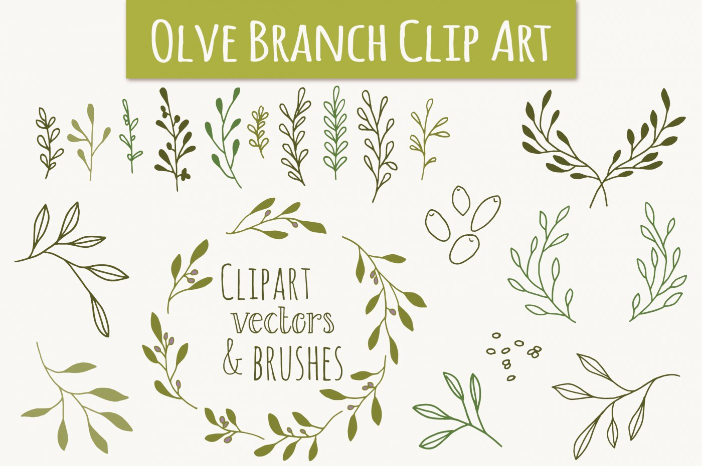 1400x931 Olive Branch Clip Art Amp Vectors By Itty Bitty Paper Co