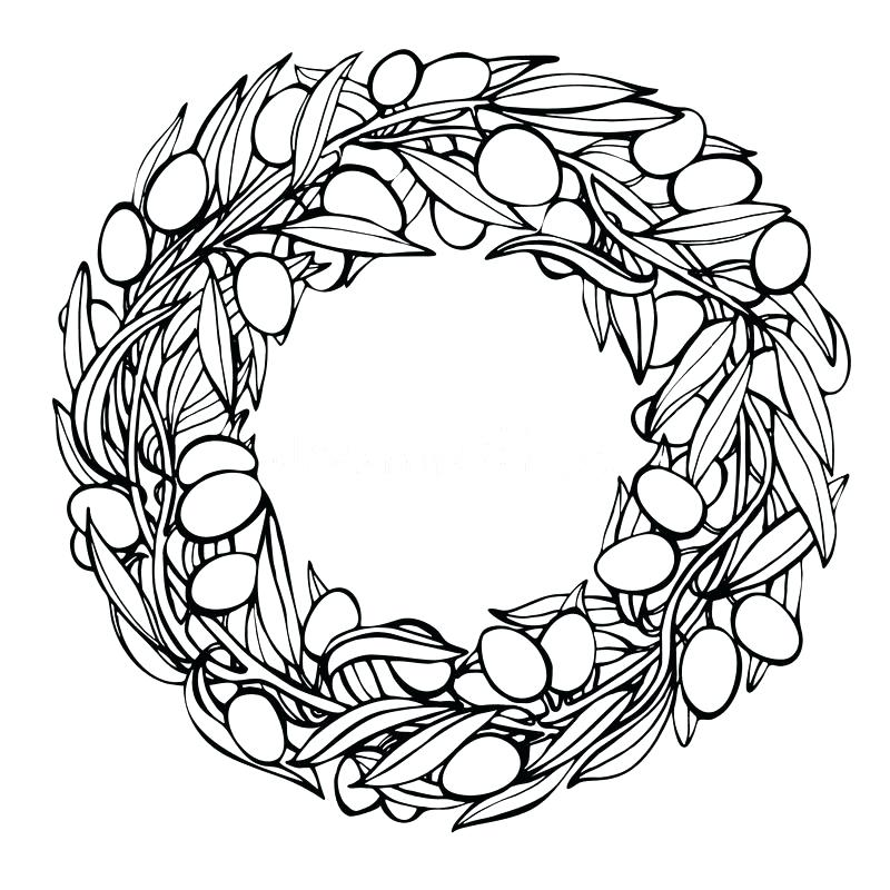 800x800 Olive Branch Wreath Vector Hand Drawn Laurel Wreath And Olive