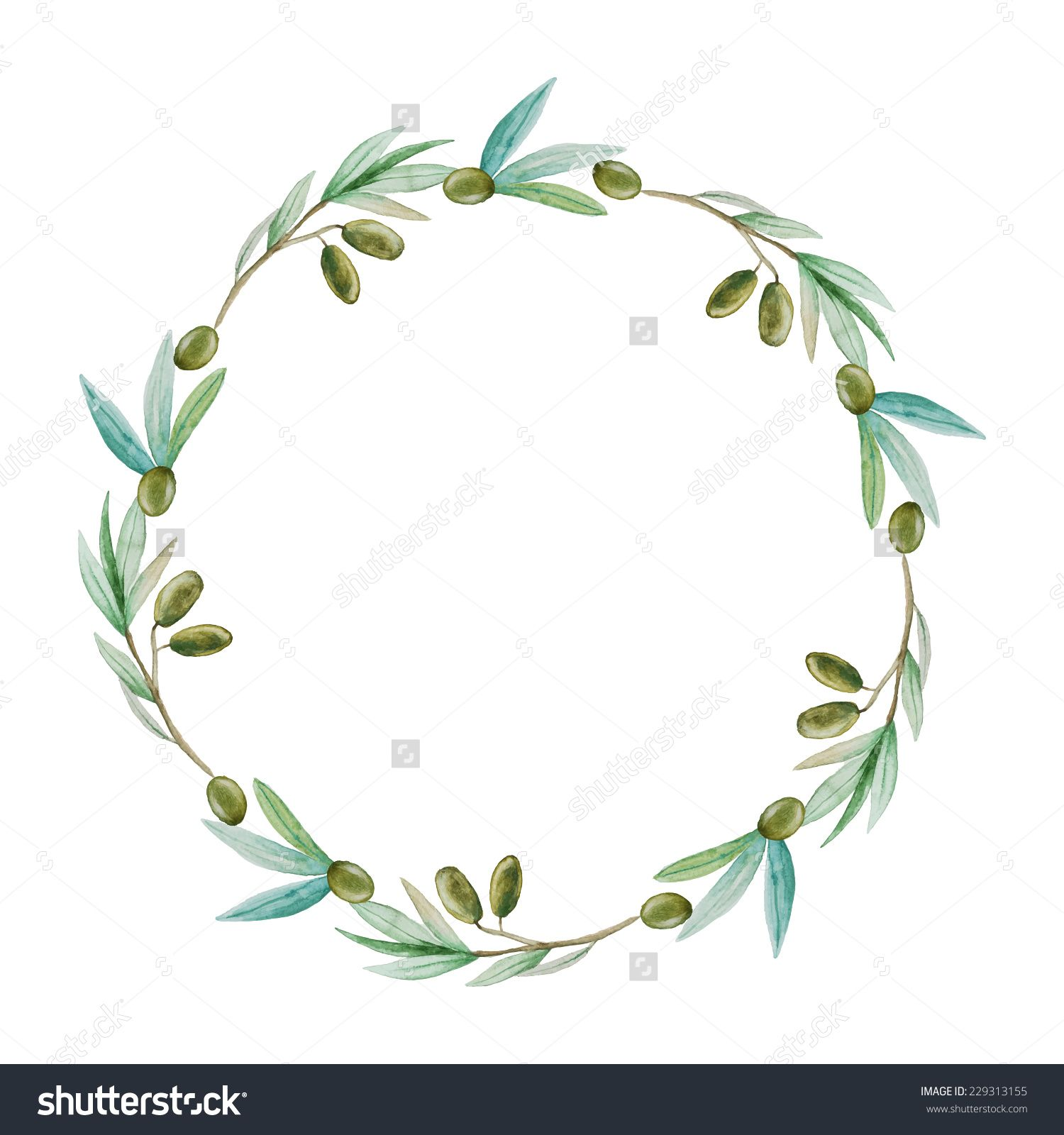 1500x1600 Watercolor Olive Branch Wreath. Hand Drawn Natural Vector Frame