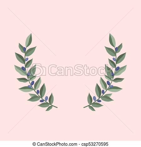 450x470 Black Olive Branches Wreath On A Dust Pink Background. Frame From