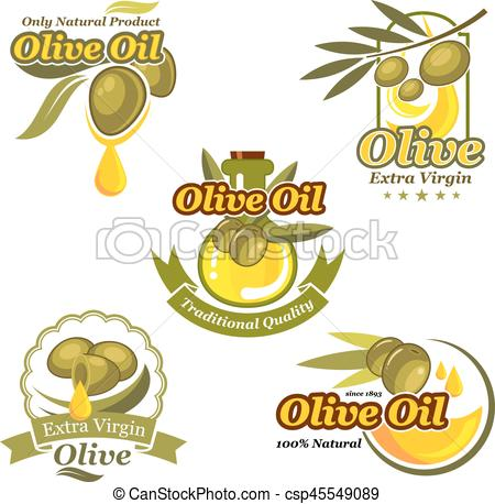 450x458 Olive Oil Vector Icons Product Label Template Set. Olive Oil