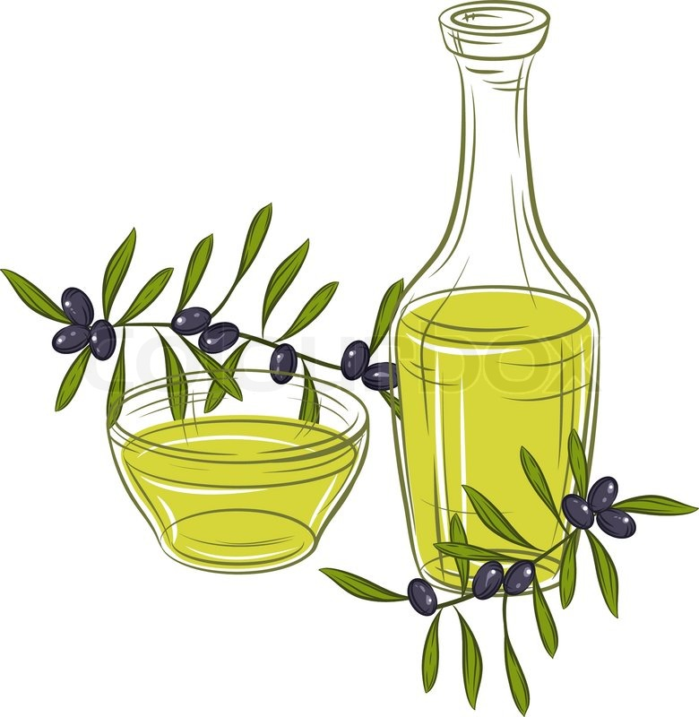 780x800 Vector Illustration With Black Olives And Bottle Of Oil Stock