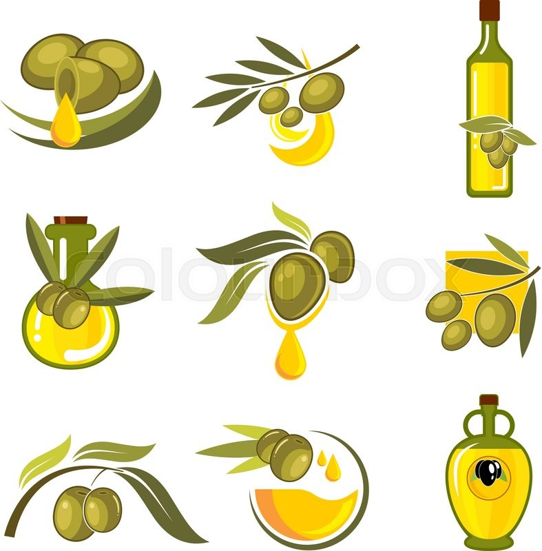 787x800 Fresh Green And Black Olive Fruits Icons With Dripping Golden