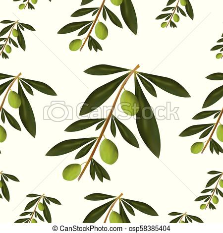 450x470 Seamless Pattern With Olive Tree Vector Illustration