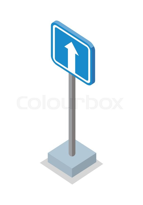 560x800 One Way Traffic Road Sign. White Arrow On Blue Traffic Sign. Road