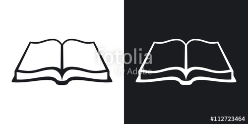 500x250 Open Book Icon, Stock Vector. Two Tone Version On Black And White
