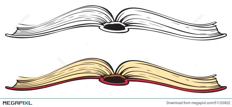 800x369 Open Book. Vector Sketch Illustration 51120922
