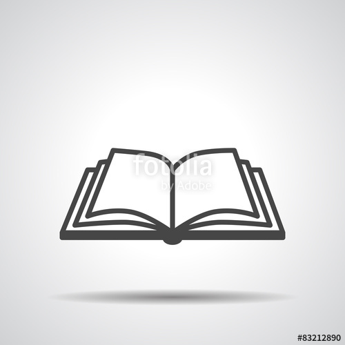 500x500 Open Book Vector Icon On A Grey Background Stock Image And