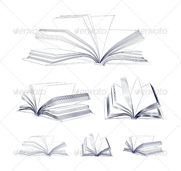590x557 Open Book Sketch Set By Sermax55 Graphicriver