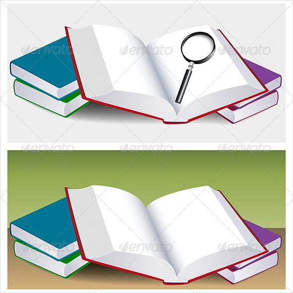 590x590 Open Book With Magnifying Glass Open Book, Vector Shapes And Glass