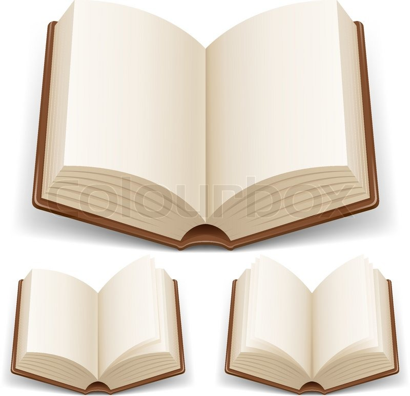 800x773 Open Book With White Pages Illustration On White Background