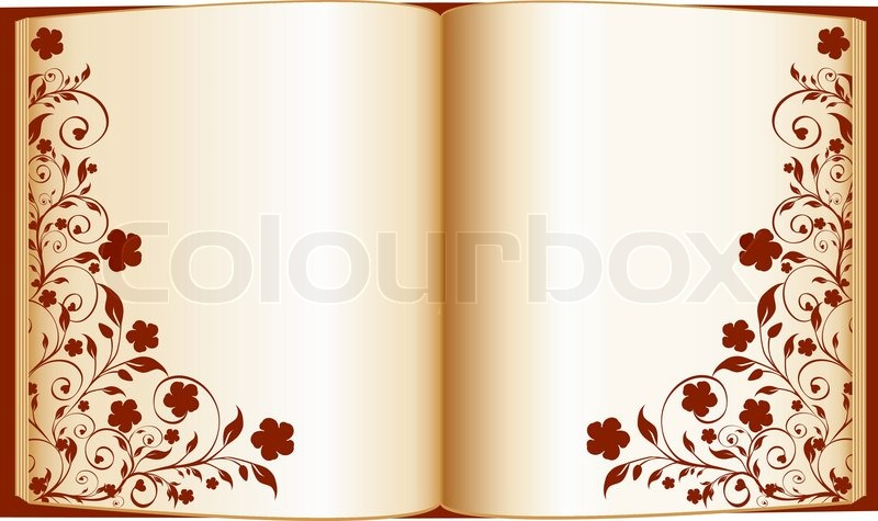 800x475 Vector Illustration Of An Open Book With Floral Decoration