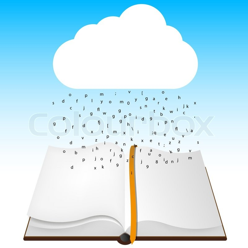 800x800 Concept Computer Cloud With Open Book Vector Illustration Stock
