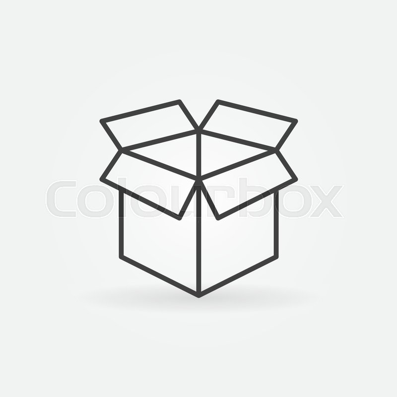 800x800 Open Box Line Icon. Vector Minimal Box Symbol Or Logo Element