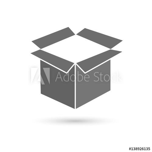 500x500 Open Box, Vector Illustration. Flat Design Style
